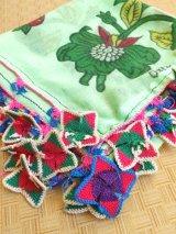 ベルガマ・コザック|アンティークオヤスカーフ|イーネオヤ・コットン糸|四枚葉:ピンクグリーン