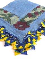 ◆ベルガマ・コザック|木版アンティークオヤスカーフ|幾何学ブルー