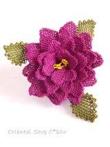 シルクイーネオヤブローチ:4重花びら:パープル