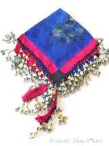 バルッケシル:遊牧民オヤスカーフ・ドゥルメオヤ:ダークブルー:木版