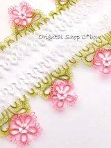 タオルの縁飾り:メキッキ|花:ピンク