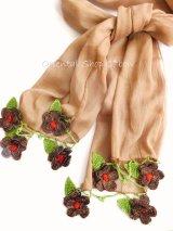 ボリュームたっぷり☆手編みのお花☆ふんわりコットンショール|ココア