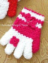 ボディタオル[エコたわし]・手袋・ディープピンク×ホワイト