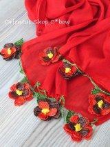 ボリュームたっぷり☆手編みのお花☆ふんわりコットンショール|レッド