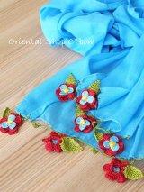 ボリュームたっぷり☆手編みのお花☆ふんわりコットンショール|ターコイズ×マゼンタ