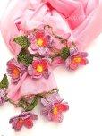 画像3: ボリュームたっぷり☆手編みのお花☆ふんわりコットンショール|ピンク×ラベンダー (3)