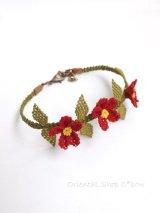 シルクイーネオヤブレスレット|3つ花|レッド