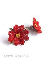 シルクイーネオヤピアス|4枚花|レッド