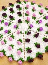 ボディタオル[リフ・エコたわし] ぷっくり薔薇|カラフル|ボルドー・パープル・スミレ