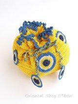 手編みナザルボンジュウのミニ巾着|黄色・1