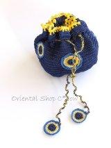 手編みナザルボンジュウのミニ巾着|濃青×卵