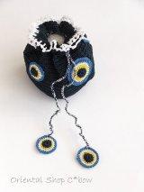 手編みナザルボンジュウのミニ巾着|ほぼ黒×白