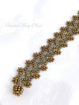 ボンジュックオヤブレスレット|小花のジグザグ小道☆グレーゴールド