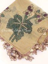 キュタフヤ・タウシャンル:木版アンティークオヤスカーフ|シルク糸・馬毛|オルドローズ