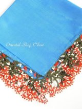ブルサ:イズニック・大きなオヤ(人工シルク糸)|アンティークオヤスカーフ|ブルー×大きなレッド