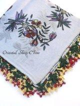ブルサ:イズニック|アンティークオヤスカーフ|イーネオヤ(人工シルク糸)|スカイブルー・柄も可愛い