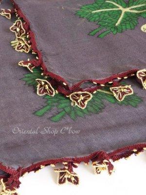 画像4: キュタフヤ・タウシャンル:アンティークオヤスカーフ|シルク糸|K042