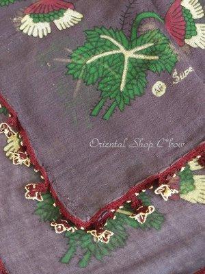 画像5: キュタフヤ・タウシャンル:アンティークオヤスカーフ|シルク糸|K042