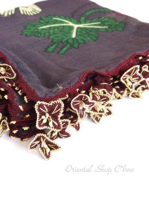 画像1: キュタフヤ・タウシャンル:アンティークオヤスカーフ|シルク糸|K042