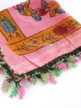 ナウルハン|木版|アンティークイーネオヤスカーフ|シルク糸・魚の骨|ピンク
