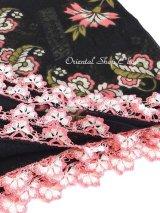 バルッケシル:アンティークオヤスカーフ|トゥーオヤ|ピンク花×ブラック