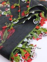 ブルサ・イズニック|木版アンティークオヤスカーフ・シルク糸イーネオヤ|ブラック