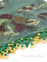 ブルサ|木版アンティークオヤスカーフ・シルク糸|ダークグリーン