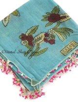 ブルサ|木版アンティークオヤスカーフ・シルク糸イーネオヤ|ターコイズブルー