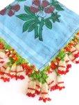 画像1: ◆ベルガマ・コザック|アンティークオヤスカーフ|イーネオヤ|水色×レッドホワイト (1)