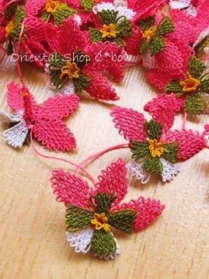 画像1: 手作りアクセに☆シルク糸:イーネオヤ単体|落花生の花|ピンク×ホワイト