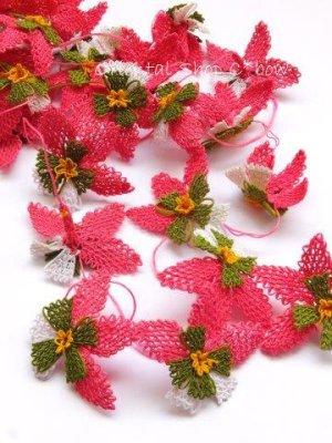 画像2: 手作りアクセに☆シルク糸:イーネオヤ単体|落花生の花|ピンク×ホワイト