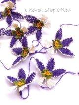 手作りアクセに☆シルク糸:イーネオヤ単体|落花生の花|ダークパープルふち×オフホワイト