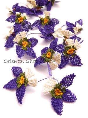 画像2: 手作りアクセに☆シルク糸:イーネオヤ単体|落花生の花|ダークパープル×オフホワイト