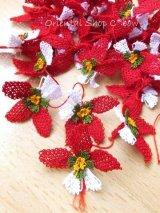 手作りアクセに☆シルク糸:イーネオヤ単体|落花生の花|レッド×ホワイト