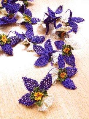 画像1: 手作りアクセに☆シルク糸:イーネオヤ単体|落花生の花|ダークパープル×オフホワイト