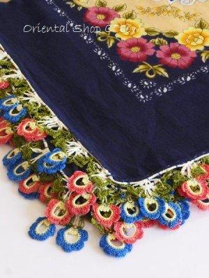 画像3: バルックケシル:大判トゥーオヤスカーフ:ミッドナイトブルー×ピンク・ブルー