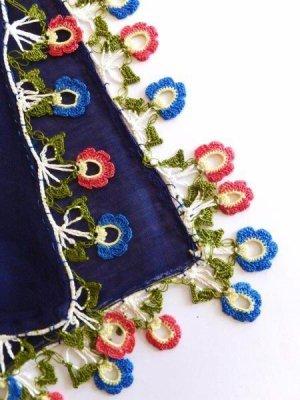 画像4: バルックケシル:大判トゥーオヤスカーフ:ミッドナイトブルー×ピンク・ブルー