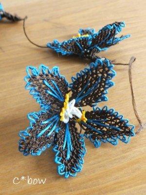 画像3: 日本発送★手作りアクセに☆シルク糸:イーネオヤ単体 大きな花 ダークブラウン×ピーコックブルー