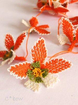 画像2: 日本発送★手作りアクセに☆シルク糸:イーネオヤ単体|落花生の花|オレンジ×オフホワイト