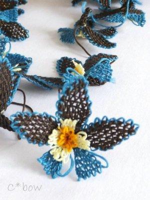 画像2: 日本発送★手作りアクセに☆シルク糸:イーネオヤ単体|落花生の花|ダークブラウン×ピーコックブルー