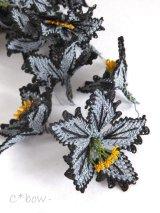 日本発送★手作りアクセに☆シルク糸:イーネオヤ単体|大きな花|グレー×ブラック