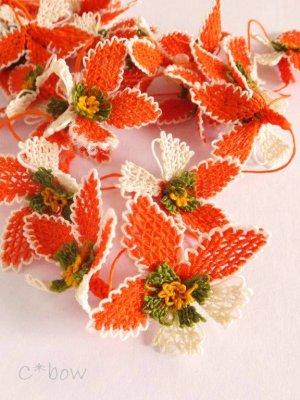 画像1: 日本発送★手作りアクセに☆シルク糸:イーネオヤ単体|落花生の花|オレンジ×オフホワイト