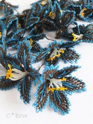 画像1: 日本発送★手作りアクセに☆シルク糸:イーネオヤ単体 大きな花 ダークブラウン×ピーコックブルー