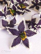 手作りアクセに☆シルク糸:イーネオヤ単体|大きな花|インディゴ×オフホワイト