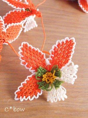 画像3: 日本発送★手作りアクセに☆シルク糸:イーネオヤ単体|落花生の花|オレンジ×オフホワイト