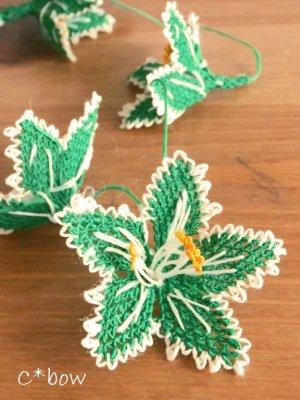 画像3: 日本発送★手作りアクセに☆シルク糸:イーネオヤ単体|大きな花|グリーン×オフホワイト