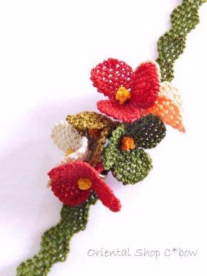 画像3: シルクイーネオヤブレスレット:6花フェスティバル:レッド系