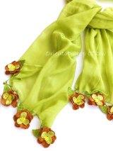 ボリュームたっぷり☆手編みのお花☆ふんわりコットンショール|オリーブ