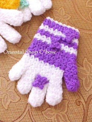 画像2: ボディタオル[エコたわし]・手袋・パープル×ホワイト
