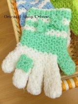ボディタオル[エコたわし]・手袋・ミントグリーン×ホワイト